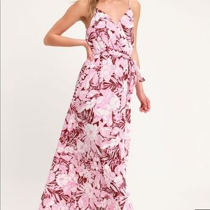 Pink and White Floral Maxi Dress